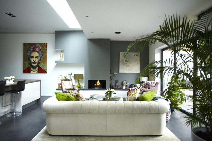 Modern Victorian Home Combining The Past And The Modern Era : White Sofas Green Cushions Grey Wall Green Sitting Lamp Black Chairs