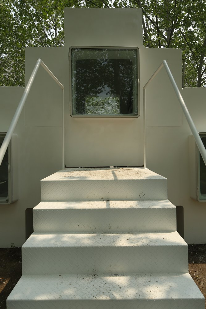 Beautiful Micro House For Small And Functional Residential Place : White Stairs With White Handrails Theme