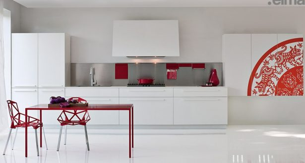 Enchanted Modern Kitchen In White: White With Red Pops Of Colour ~ stevenwardhair.com Kitchen Designs Inspiration