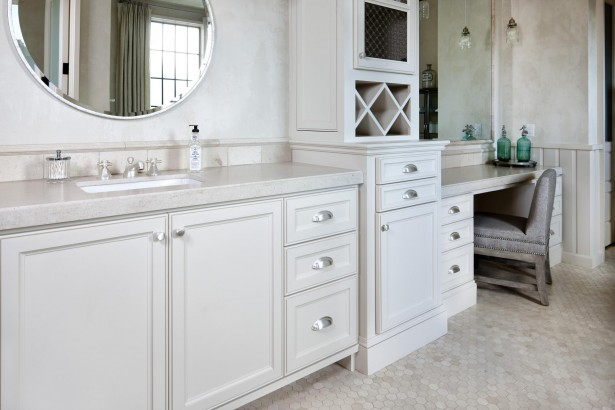 Cozy Luxurious Villa Interior With Classic Furniture: White Wooden With Shelf And Washbasin Under Rounded Mirror In Powder Room ~ stevenwardhair.com Villas Inspiration