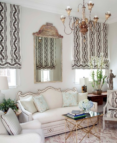 Lively Curtain Designs For Windows With Astounding Color Scheme : Window Treatment Ideas For Living Room With Traditional French