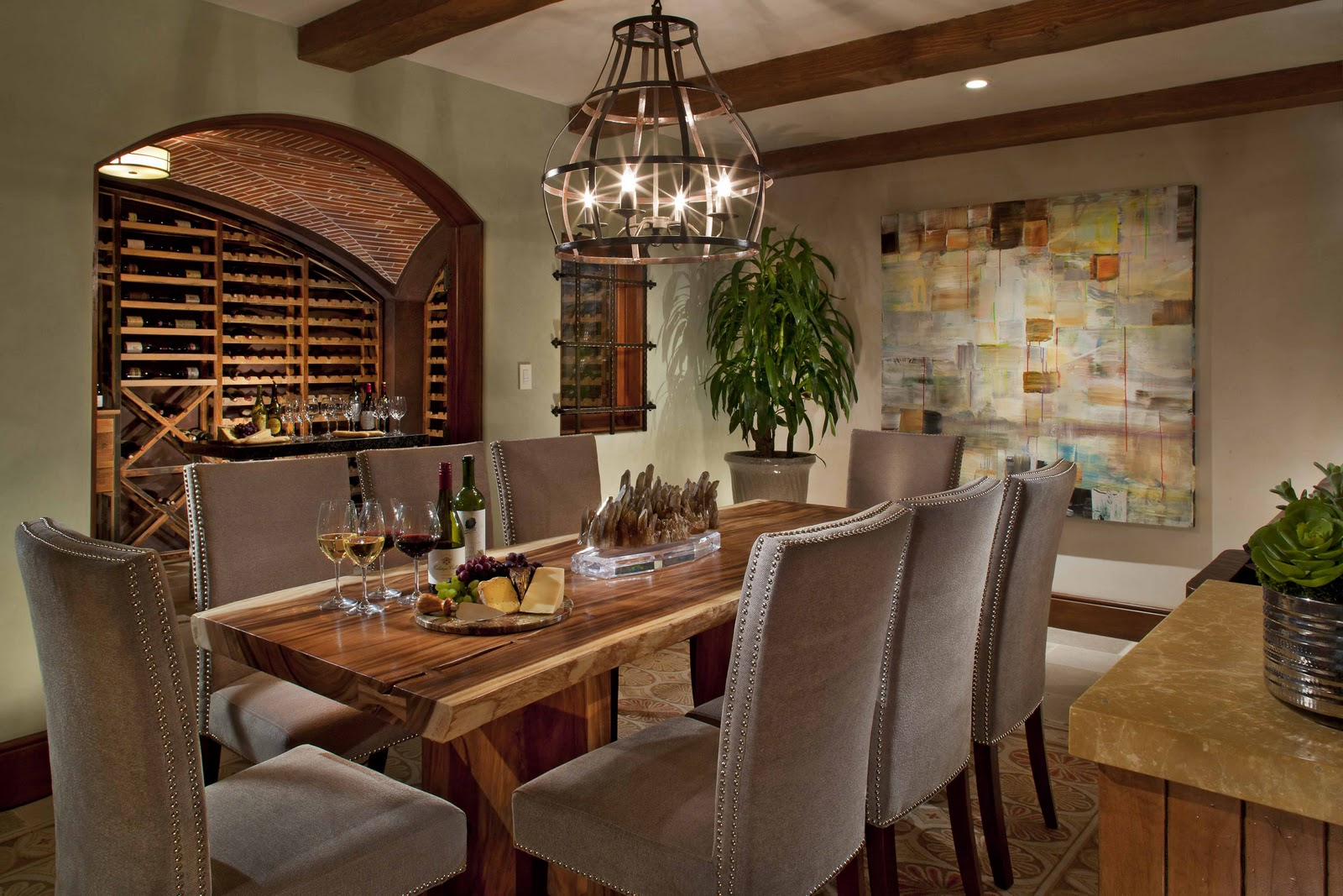Unique Wine Cellar Designs Inside Your House : Wine Cellar With Dining Room