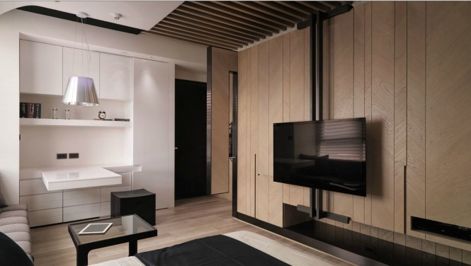 Incredible Taiwanese Apartment Dominated With Wooden Accent For Warmth: Wonderful A Tiny Taiwanese Apartment Wooden Style Wall White Color Shelf Design