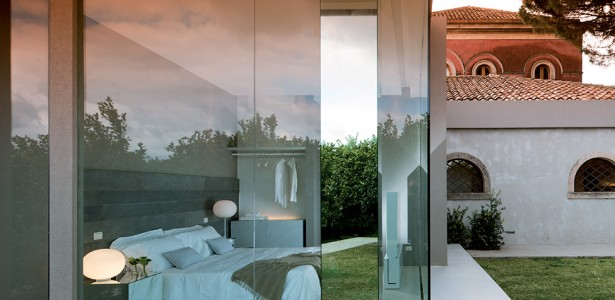 Top Historical Fragments With Modern Design In Sicily : Wonderful Bedroom Interior Design With Glass Wall And Door Design Ideas