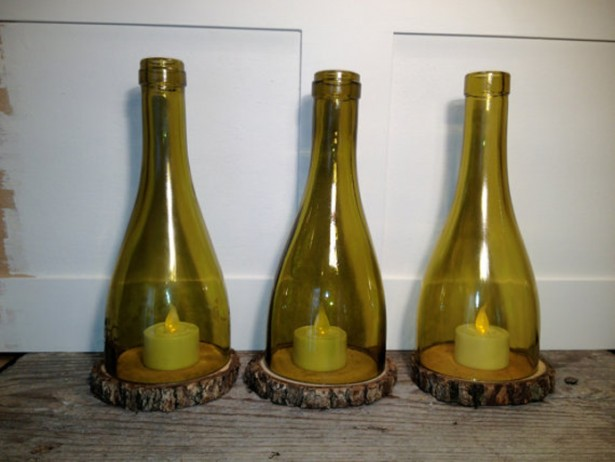 Sparkling Wine Bottle In Eco Friendly Theme For Recycling: Wonderful Candle Place Made Of Wine Bottle With Interesting Design And Small Candle On Wooden Table ~ stevenwardhair.com Furniture Inspiration