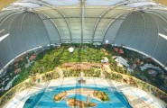 The Fascinating And Largest Indoor Vacation In Dome : Wonderful Completed Vacation With Large Rainforest And Swimming Pool Viewed From The Height