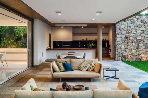 Luxurious Modern Home Design; Four Leveled House: Wonderful Family Room With Brown Sofas With Colorful Cushions And Wooden Table ~ stevenwardhair.com Modern Home Design Inspiration