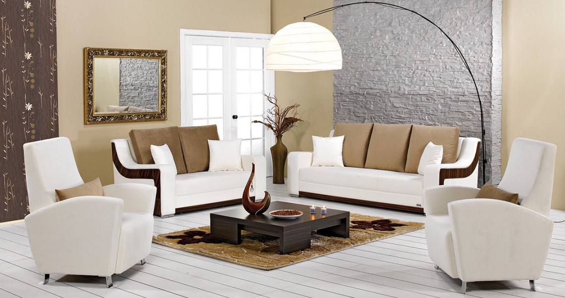 Stylish Modern Living Room Furniture Brings Cool And Funky Look: Wonderful Modern Living Room Furniture White Arm Chair Brown Interior