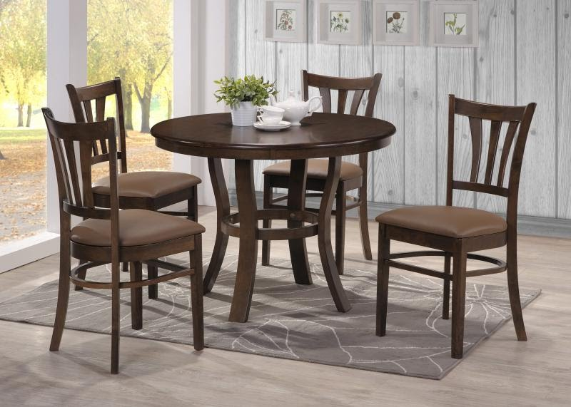 Attractive Round Table Dining Set In Both Modern And Classic Flairs: Wonderful Modern Round Table Dining Set Brown Natural Design