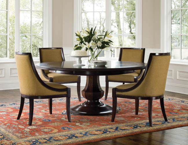 Attractive Round Table Dining Set In Both Modern And Classic Flairs : Wonderful Round Table Dining Set Brown Color Laminate Floor Design