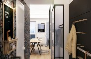 Compact Small Apartment In Black And White Decoration : Wonderful Small Entryway Clad In Black Combined With Floral Wallpaper Motif Decoration