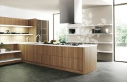 Design Your Own Kitchen Using Unique Colors And Furniture : Wood Slab Modern Kitchen Units
