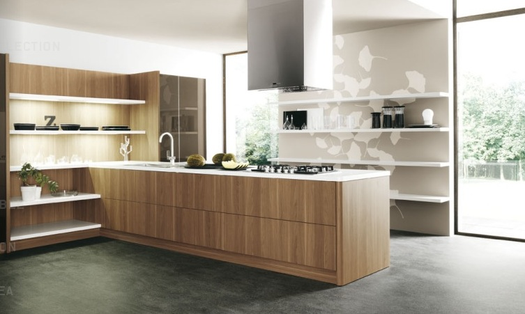 Design Your Own Kitchen Using Unique Colors And Furniture: Wood Slab Modern Kitchen Units