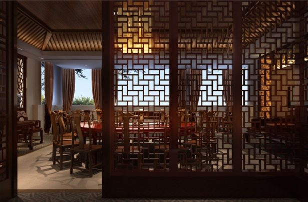 Aesthetic Asian Restaurant Interior Design With Warm Circumstance: Wood Windows Chinese Restaurant Design Rendering ~ stevenwardhair.com Architecture Inspiration
