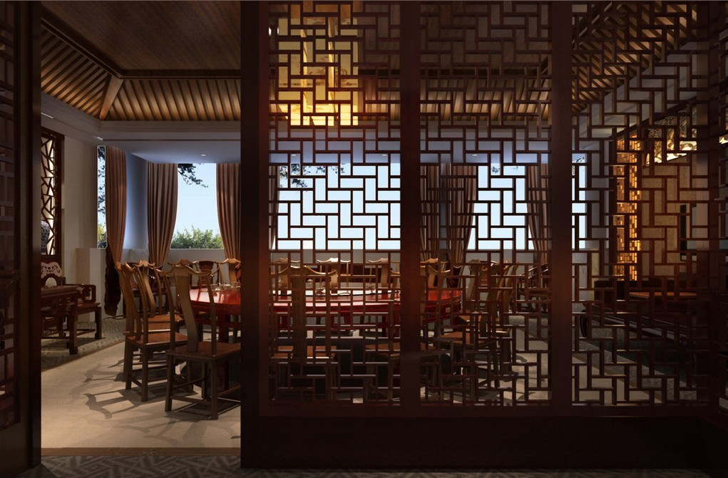 Aesthetic Asian Restaurant Interior Design With Warm Circumstance : Wood Windows Chinese Restaurant Design Rendering
