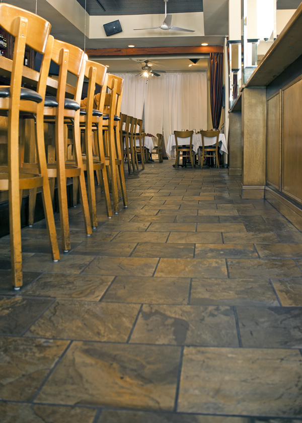 Luxury Stonepeak Tiles Showcasing Elegance : Wooden Bar Stoods Classic Stonepeak Tiles Modern Restourant Interior