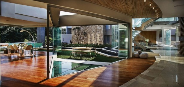Beautiful Extra Luxurious Home In Your Mind: Wooden Bench And Table In Triangle Side Courtyard Viewed Through Transparent Glazed Wall ~ stevenwardhair.com Luxury Home Design Inspiration