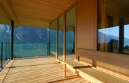 Extraordinary Minimalist Wood House Around Natural Environment : Wooden Bench In Balcony To Enjoy The Scene