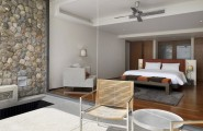 Fantastic Contemporary Villa Design Offers Classy Facilities : Wooden Chairs And Rounded Table With Bed Inside