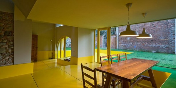 Luxurious Minimalist Contemporary House: Wooden Chairs And Table Under Rounded Hanging Lamp Placed On Yellow Floor  ~ stevenwardhair.com Contemporary Home Design Inspiration