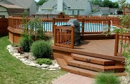 Gorgeous Yet Safe Above Ground Pools With Decks In Round Shape : Wooden Deck Material For Above Ground Pools With Decks