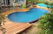 Joyful Above Ground Pool Decks With Natural Atmosphere : Wooden Deck Small Swimming Pool Design