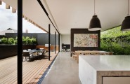 Gorgeous Contemporary Home Design With Wooden Details : Wooden Dining Room Separated With Courtyard