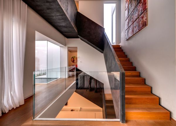 Stunning Luxurious Interior And With Open Interior: Wooden Staircase With Steel Rails Extravagant Family Home In Israel