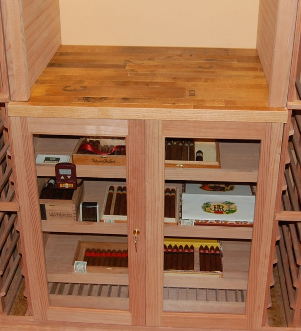 Unique Wine Humidor From Wooden Material: Wooden Wine Humidor Stores Cigars On Living Room Interior ~ stevenwardhair.com Home Bar Inspiration