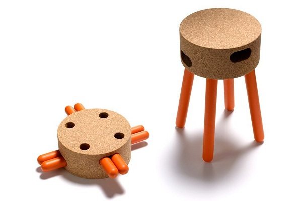 Eco Friendly Cork Design As Furniture For Your House: Woonderful Corkway Senta Cork Stool With Brown And Orange Color ~ stevenwardhair.com Interior Design Inspiration
