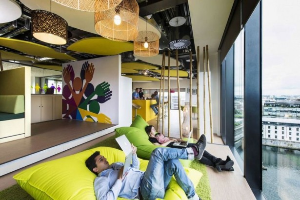 Futuristic College Campus Dominated With Glass Decoration: Work And Relax At The Same Time Window Seat Area With Bean Sofa ~ stevenwardhair.com Design & Decorating Inspiration