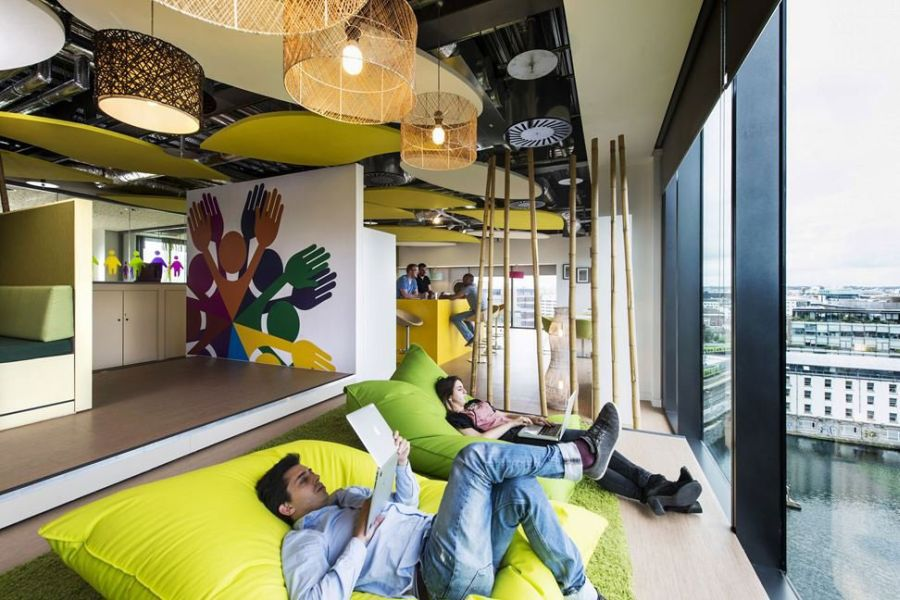 Futuristic College Campus Dominated With Glass Decoration: Work And Relax At The Same Time Window Seat Area With Bean Sofa