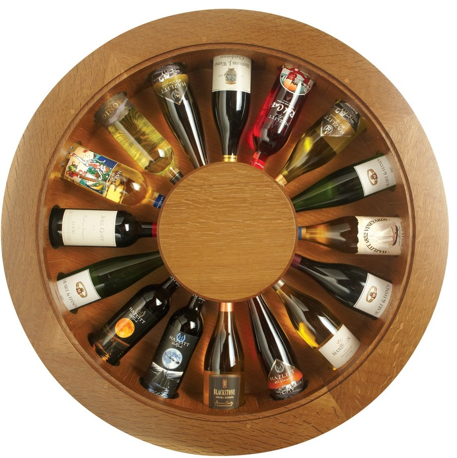 Eclectic Wine Rack For Contemporary House: Wound Shape Wine Rack Design Wood Made Like Wheel