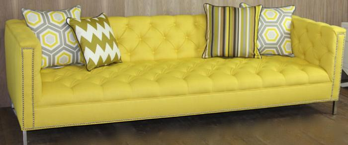 Yellow Sofas And Its Many Designs : Yellow Tufted Hollywood Sofa