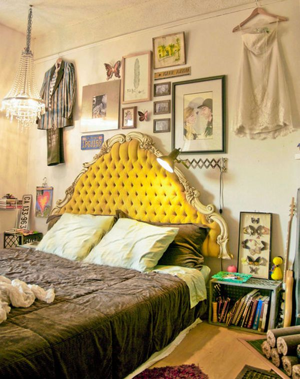 Amazing Headboard Designs For Contemporary Bedroom: Yellow Velvet Tufted Headboard For The Eclectic Bedroom With A Twist