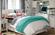 Enhancing Cool Rooms For Girls With Wonderful Arrangement : Young Girls Bedroom Design With White And Blue Bedding