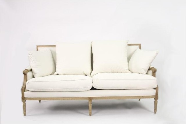 White Sofas With Unique Ambiance : Zentique Louis Sofa In White Linen Traditional Sofas