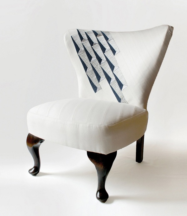 12 Inspiring DIY Chair Upholstery Ideas : DIY Upholstered White Chair For Your Living Room