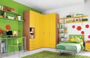 Closet Ideas For Small Bedrooms With Classy Look : Green Wallpaper Small Kids Room Multiple Closets Modular Shelving Drawer Storage Corner Cupboard