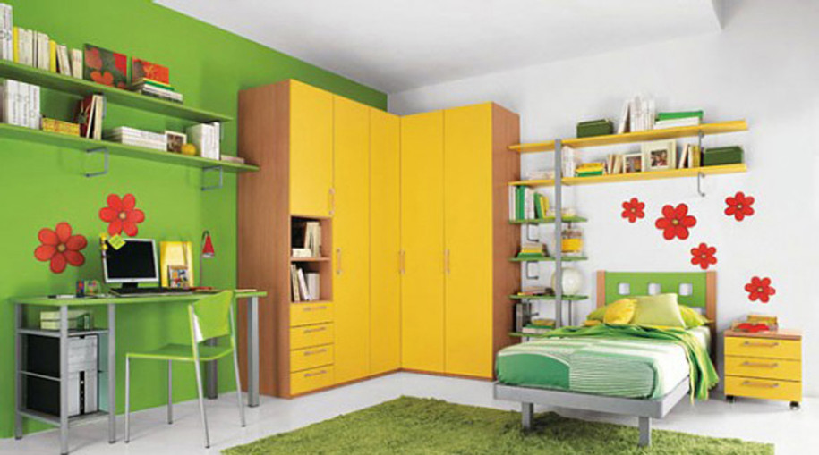 Closet Ideas For Small Bedrooms With Classy Look: Green Wallpaper Small Kids Room Multiple Closets Modular Shelving Drawer Storage Corner Cupboard