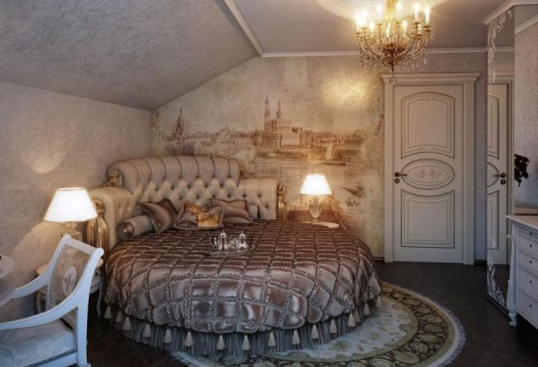Astounding Round Beds For Amazing Bedroom Display: 27 Images: Fabulous Wall Mural And Exqusite Interiors Create A Ravishing Traditional Bedroom With A Circle Bed ~ stevenwardhair.com Bedroom Design Inspiration