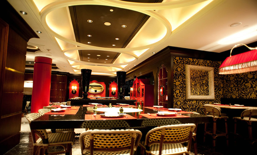 Aesthetic Asian Restaurant Interior Design With Warm Circumstance: Elegant Authentic Southeast Asian Restaurant Interior Design Of Red 8 Las Vegas Main Dinning Room